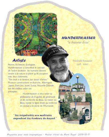 Maquette stèle biographique Hunderwassert